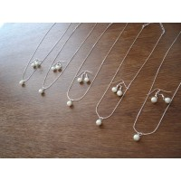 Single Pearl Necklace and Earring Bridesmaid Set