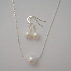 Floating Necklace and Drop Pearl Earrings Jewelry - Bridesmaid Gift