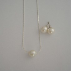 Floating Necklace and Stud Earrings Jewelry - Bridesmaid Gift