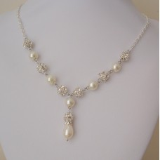 Wedding Necklace Pearl Rhinestone Bridal Necklace, Pearl Y Drop Necklace