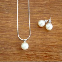 Single Floating Pearl Jewelry Set – Pearl Drop Necklace and Studs
