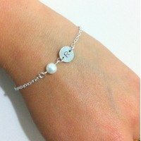Personalized Initial Pearl Floating Bracelet