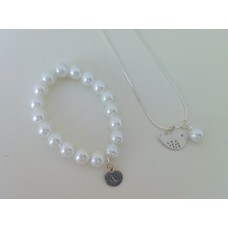 Little bird necklace and pearl & initial bracelet flowergirl jewelry gift set