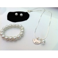 Flower girl gift - Little Bird necklace, bracelet & stud earrings jewelry set