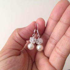 Pearl and Rhinestone Earrings - Bridesmaid Gift
