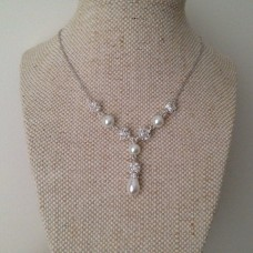 Petite Wedding Necklace Pearl Rhinestone Bridal Necklace, Pearl Y Drop Necklace