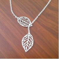 Leaf Lariat Necklace - Modern Dainty