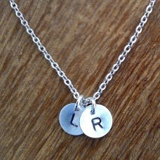 Two Initial Necklace - Modern Dainty
